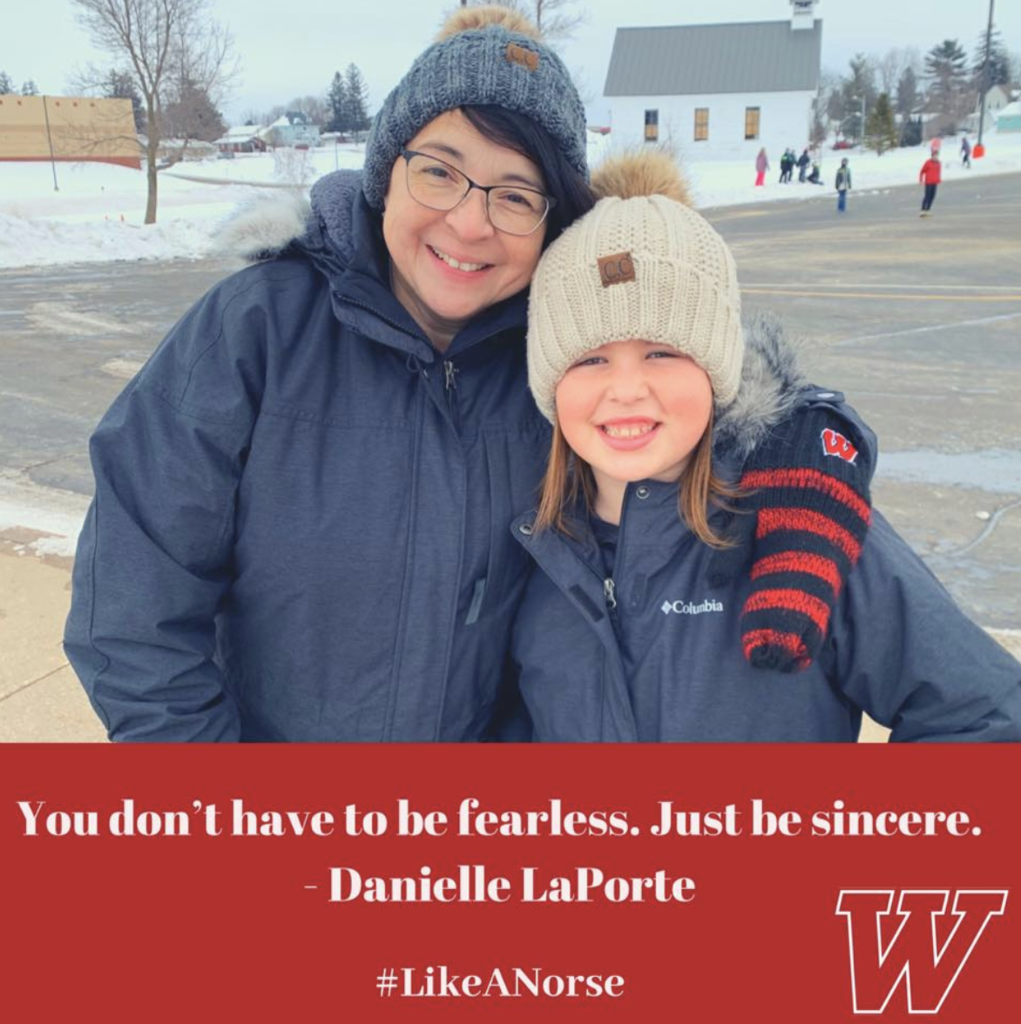"A photo of a woman and a girl wearing winter clothing. The caption beneath their image reads, ""You don't have to be fearless. Just be sincere."" --Danielle LaPorte"