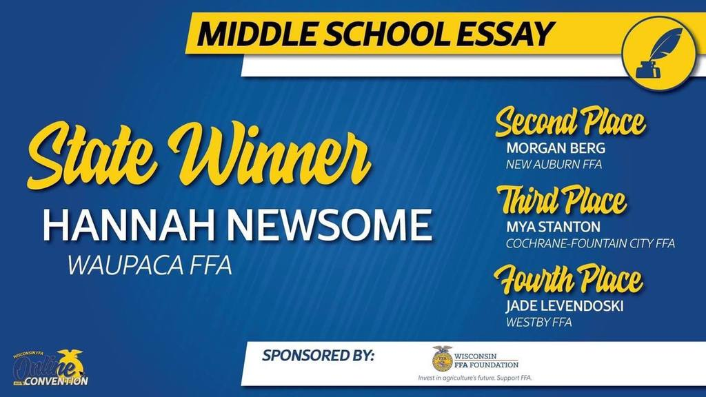 Graphic announcing middle school essay contest winner, as well as second, third, and fourth place